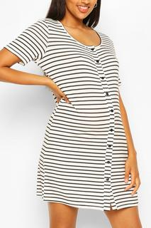boohoo - Womens Maternity Stripe Button Front Nightie - White - 12, White