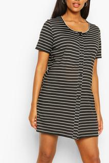 boohoo - Womens Maternity Stripe Button Front Nightie - Black - 16, Black