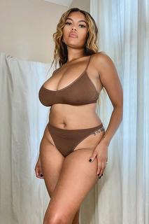 boohoo - Womens Ribbed Seamless Triangle Bralet - Brown - Xl, Brown