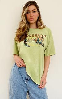 PrettyLittleThing - Green Colorado Logo Oversized T Shirt, Green