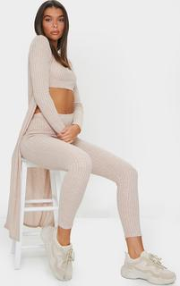 PrettyLittleThing - Oatmeal Knitted 3 Piece Legging Set, Oatmeal