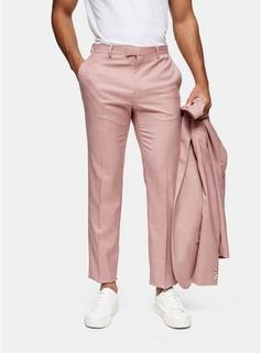 Topman - Mens Pink Slim Fit Suit Trousers, Pink