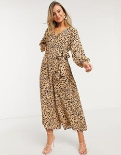 ASOS DESIGN - Jumpsuit mit Leopardenprint und Wickelgürtel-Mehrfarbig