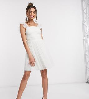 Anaya Petite - Anaya With Love Petite – Weißes Mini-Ballkleid mit Raffungen und Rüschenärmeln