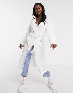 Skylar Rose - Maxistrickjacke mit Taillengürtel aus leichtem Strick-Weiß