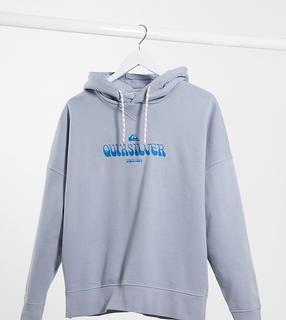 QUIKSILVER - Kastiger Fleece-Kapuzenpullover in verwaschenem Blau, exklusiv bei ASOS
