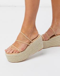 SIMMI Shoes - Simmi London – Melanie – Flatform-Espadrilles mit Zehenschlaufe, in Beige