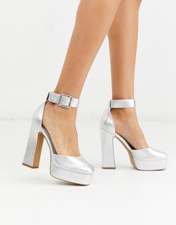 ASOS DESIGN - Presta – High-Heels mit Blockabsatz in Silber