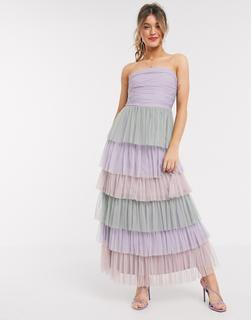 Anaya - With Love – Trägerloses, gestuftes Midaxi-Ballkleid mit abgesetzten Rüschen in Buntdruck-Mehrfarbig