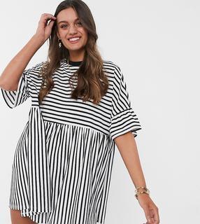 ASOS Petite - ASOS DESIGN Petite – Oversize-T-Shirt-Kleid mit schwarzen und weißen Streifen-Mehrfarbig