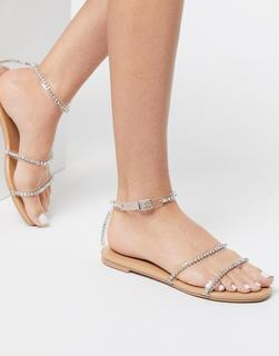 SIMMI Shoes - Simmi London – Aiva – Verzierte Sandalen in Blush-Beige