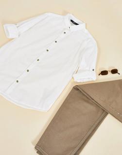 Bershka - Hemd mit Ärmeln zum Krempeln in Weiß