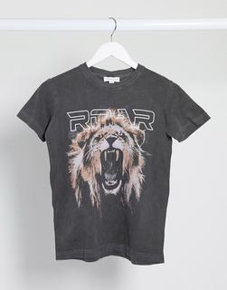 Topshop - Schwarzes T-Shirt mit Löwen-Motiv