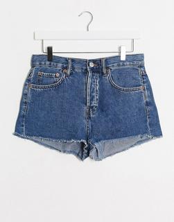 MANGO - Dunkelblaue Jeansshorts mit offenem Saum