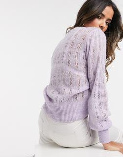 MANGO - Lila Pullover mit Pointelle-Spitze-Violett