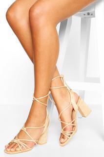 boohoo - Womens Strappy Mid Block Heels - Nude - 37, Nude