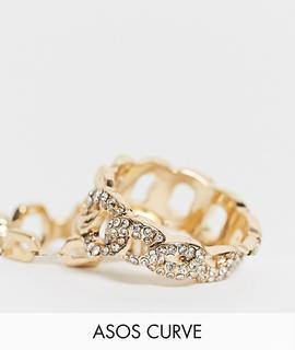 ASOS Curve - ASOS DESIGN Curve – Strassbesetzte Ringe in Gold mit Kettendesign, 2er-Pack