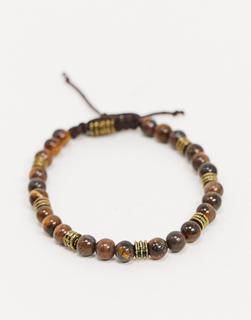 ASOS DESIGN - Perlenarmband mit Tigeraugen-Halbedelsteinen-Mehrfarbig
