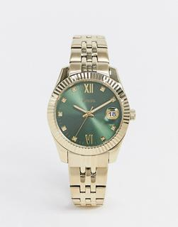 Fossil - Scarlett – Kleine Uhr mit grünem Zifferblatt und Metallarmband in Gold-Metall, ES4903