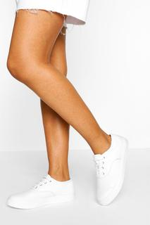 boohoo - Womens Basic Canvas Lace Up Pump - White - 3, White