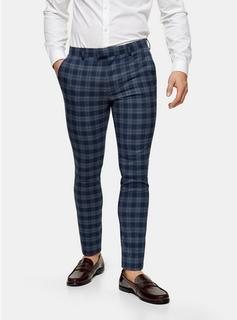 Topman - Mens Blue Check Super Skinny Fit Suit Trousers, Blue