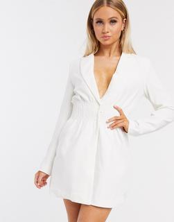 4th + Reckless - Weißes Blazerkleid mit gesmokter Taille