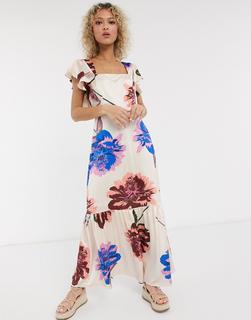 Liquorish - Maxihängerkleid mit eckigem Ausschnitt, gerüschter Schulterpartie und großem Blumenprint-Mehrfarbig
