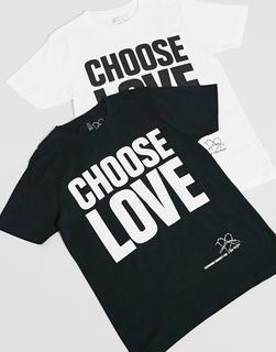 ASOS DESIGN - Help Refugees – Choose Love – Unisex-T-Shirt aus Baumwolle in Schwarz