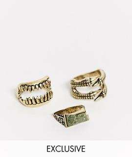 Reclaimed Vintage - Inspired – Ring-Set in poliertem Gold
