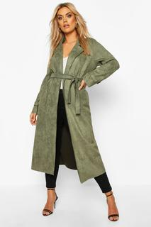 boohoo - Womens Plus Soft Faux Suede Trench Coat - Green - 16, Green
