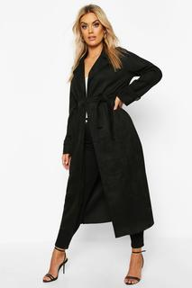 boohoo - Womens Plus Soft Faux Suede Trench Coat - Black - 16, Black