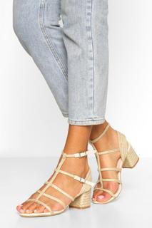 boohoo - Womens Woven Caged Block Heel Sandals - Beige - 6, Beige