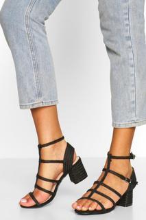 boohoo - Womens Woven Caged Block Heel Sandals - Black - 7, Black