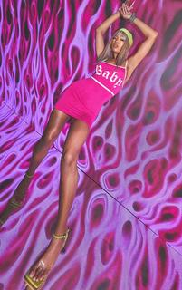 PrettyLittleThing - Hot Pink Baby Slogan Print Contrast Strappy Jersey Bodycon Dress, Hot Pink