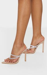 PrettyLittleThing - Nude Point To Clear Diamante Toe Through Strap Heels, Pink