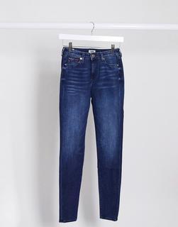 Tommy Jeans - Sylvia – Enge Jeans mit hohem Bund in verschlissenem Blau-Schwarz