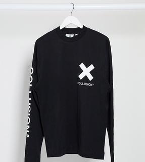 Collusion - Langärmliges Unisex-Shirt mit Logo in Schwarz