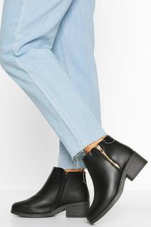 boohoo - Womens Wide Fit Zip Side Chelsea Boots - Black - 4, Black