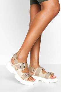 boohoo - Womens Foot Bed Sports Sandals - Beige - 6, Beige