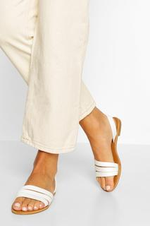 boohoo - Womens Wide Fit 3 Strap Sandals - White - 5, White