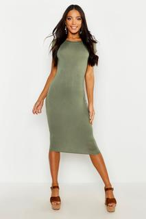 boohoo - Womens Cap Sleeve Jersey Bodycon Midi Dress - Green - 8, Green