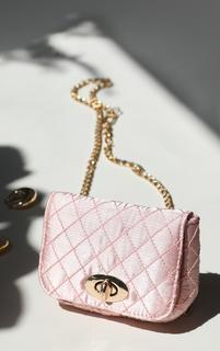 PrettyLittleThing - Pink Quilted Bag Gold Chain Belt, Pink