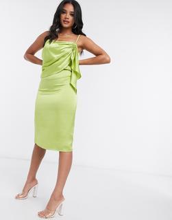 4th + Reckless - 4th & Reckless – Limettengrünes Camisole-Kleid in Midilänge mit Rüschendetail
