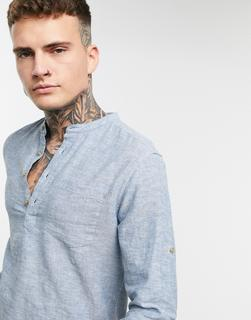 Only & Sons - Henley-Hemd aus Leinenmischung in Blau