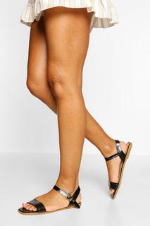 boohoo - Womens Croc Basic Square Toe Sandals - Black - 4, Black