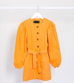 ASOS Petite - ASOS DESIGN Petite – Jeanskleid in Orange mit Puffärmeln und Gürtel
