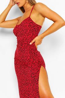 boohoo - Womens Leopard Print Jersey Slip Midi Dress - Red - 12, Red