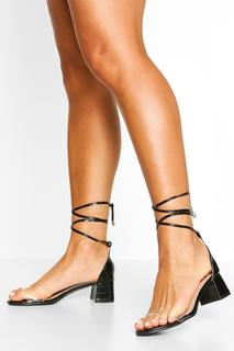 boohoo - Womens Clear Strap Wrap Up Low Block Heel 2 Parts - Black - 4, Black
