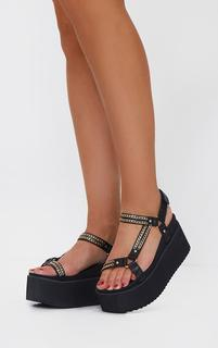 PrettyLittleThing - Black Triple Sole Flatform Chain Detail Sandals, Black