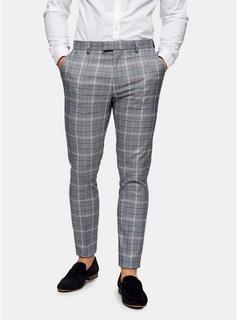 Topman - Mens Stone Navy Check Skinny Fit Suit Trousers, Stone